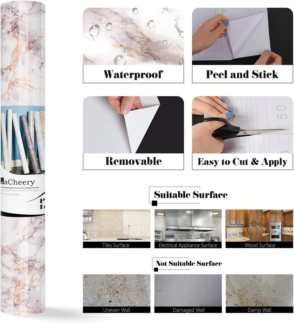 LaCheery Granite Look Marble Gray Contact Paper Self Adhesive Film 30cm x 4m Faux Countertop Peel and Stick Wallpaper for Bathroom Kitchen Backsplash Cabinets Liner Waterproof Removable Wall Paper