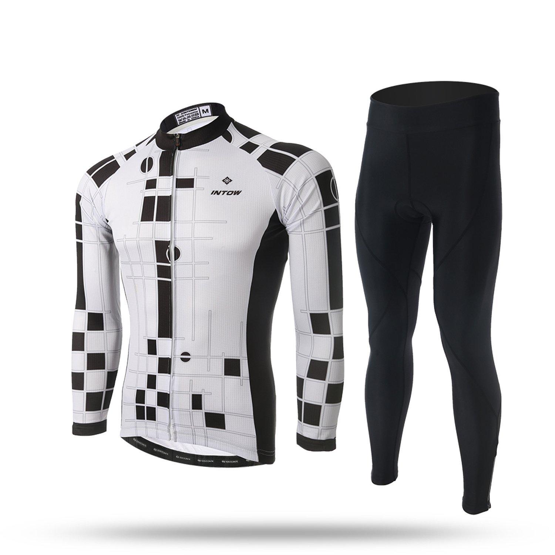 teyxocoメンズシックなブラックとホワイト長袖サイクリングジェルパッドジャージーセット XX-Large ジャージセット B077MF1VB3