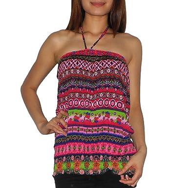 085d4ba5e91 Womens Thai Boho Gathered   Smocked Crinkle Halter Tube Tunic Top   Shirt  (Size