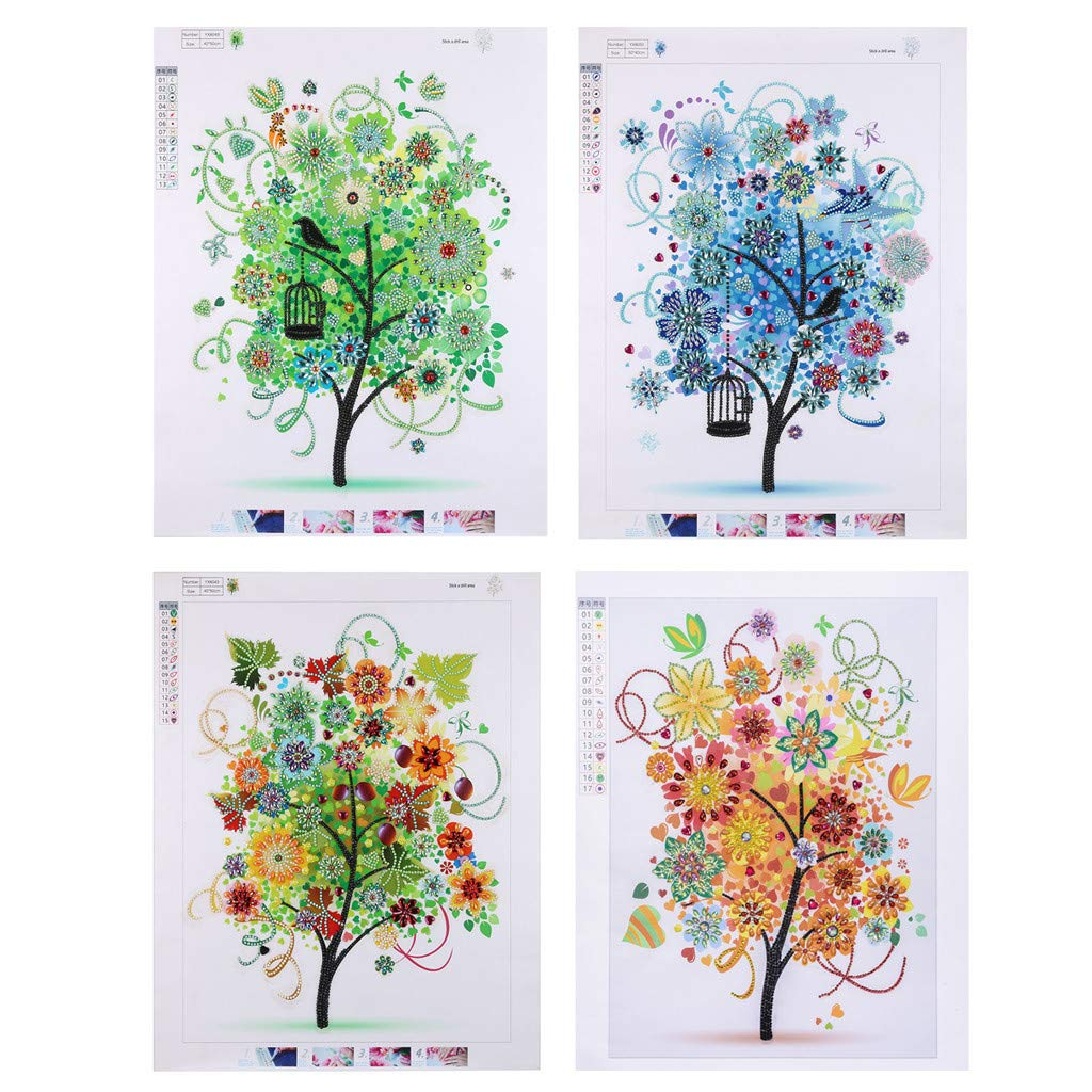 4Pcs/Set Special Shaped Diamond Painting Kit for Adults,LINSfeia 5D DIY Full Round Drill Crystal Rhinestone Embroidery Cross Stitch Arts Craft for Home Wall Decoration(Four Season Tree) by LINSfeia _Diamond Painting