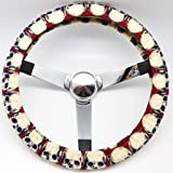 Mana Trading Handmade Steering Wheel Cover Red Skulls