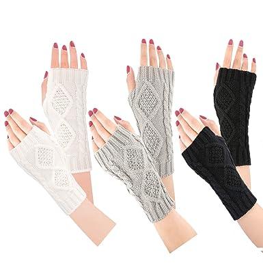 Bearbro Mitones Guantes de invierno para mujeres,Guantes Brazo Manoplas sin dedos Mitones de punto, Calentadores de brazo Mitones Manoplas de punto