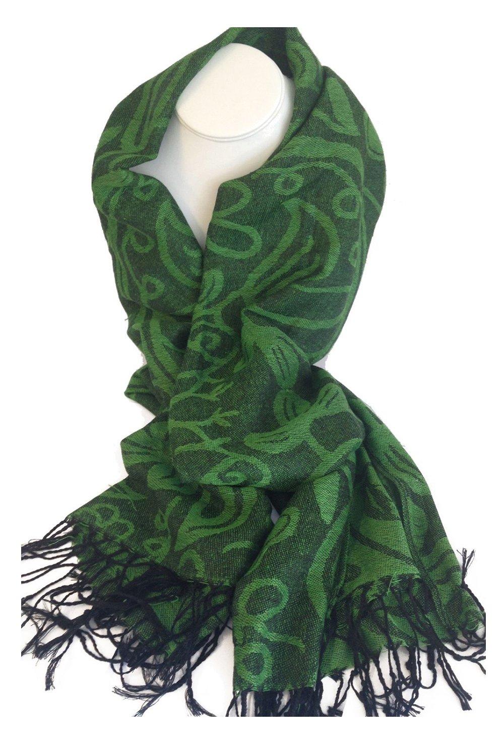 Irish Shamrock Green/Black Pashmina Scarf #148