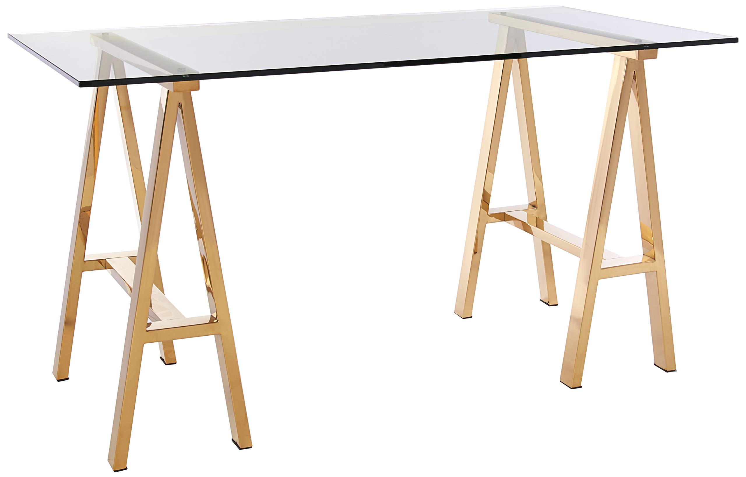 Pangea Home ZBRDY-DSK S GLD Brady Desk, Small, High Polish Gold - Manufacturer: Pangea Home Material Type: Stainless Steel and Tempered Glass Color name: High Polish Gold - writing-desks, living-room-furniture, living-room - 7131ztrphoL -