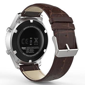 MoKo Bracelet de Gear S3 Watch en Premium Cuir Véritable Crocodile Grain  Replacement Band pour Samsung