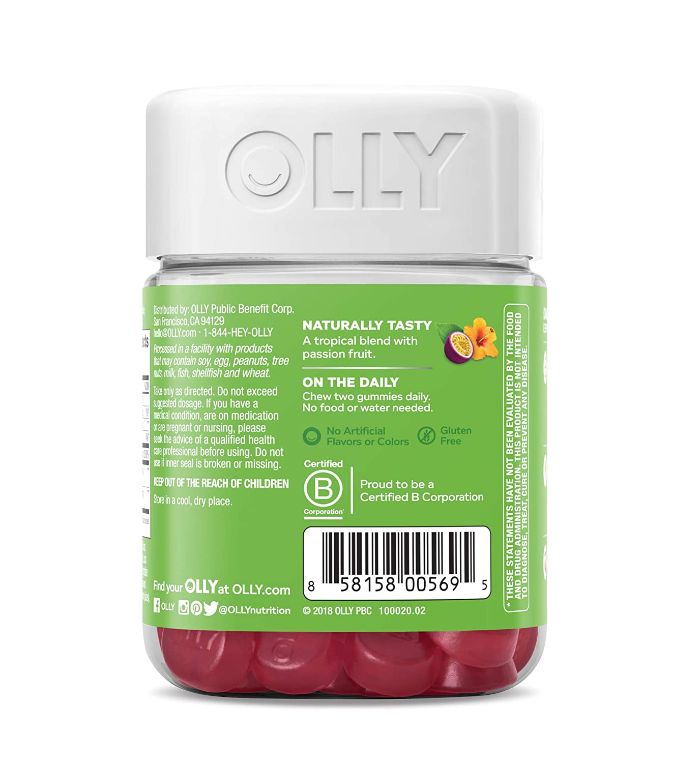 OLLY Daily Energy Gummy, 30 Day Supply (60 Gummies), Tropical Passion,  Vitamin B12, CoQ10, Goji Berry,