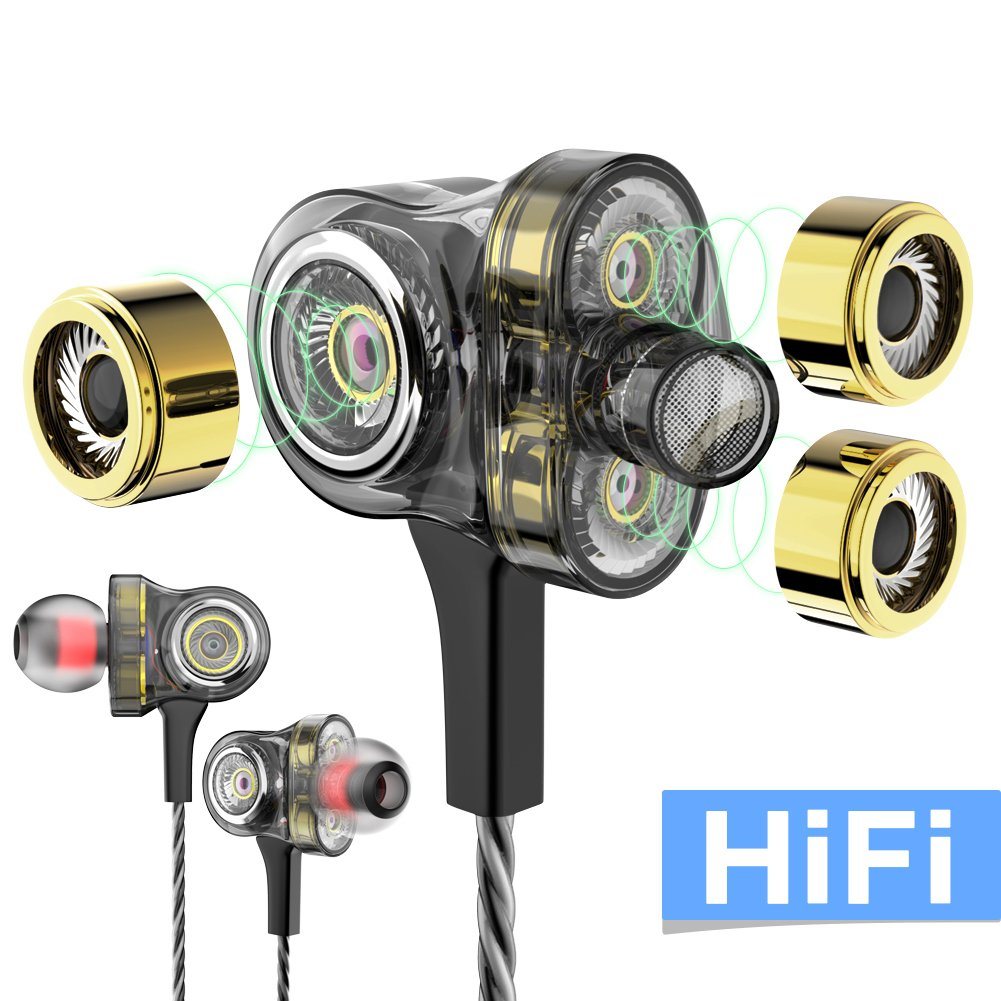 WSCSR in-Ear Headphones Earbuds High Resolution Heavy Bass Mic Phone iPad iPod Smart Android Cell Phones HTC Lg G4 G3 Mp3 Mp4 Earphones - Gray