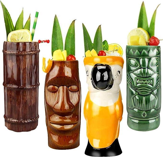Tiki Mug tazza bicchiere da cocktail stile hawaiano set kit 4 pezzi