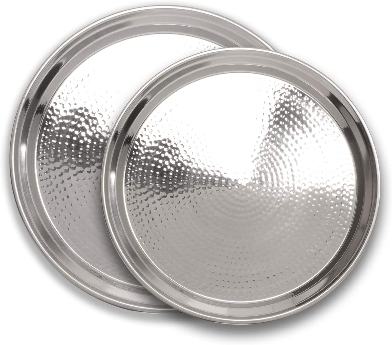 Colleta Home Stainless Steel Round Serving Tray- 2 Pc Set- Large Tray 15 inch Medium Tray 13 inch- Silver Appetizer Plates