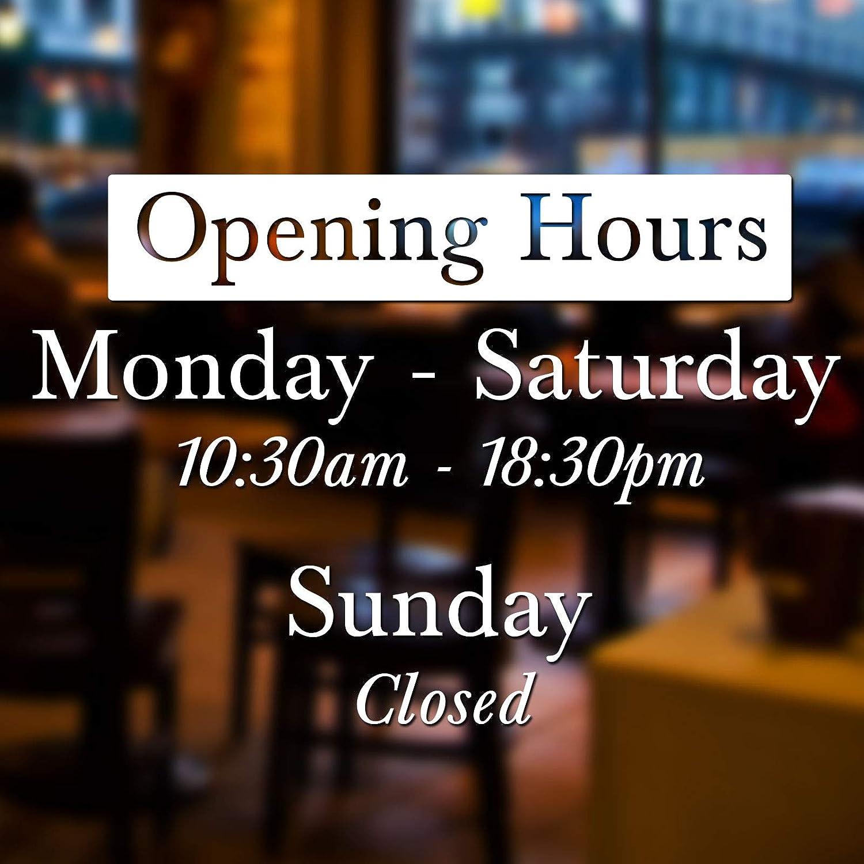 Opening Times Shop Window//Door Vinyl Sticker