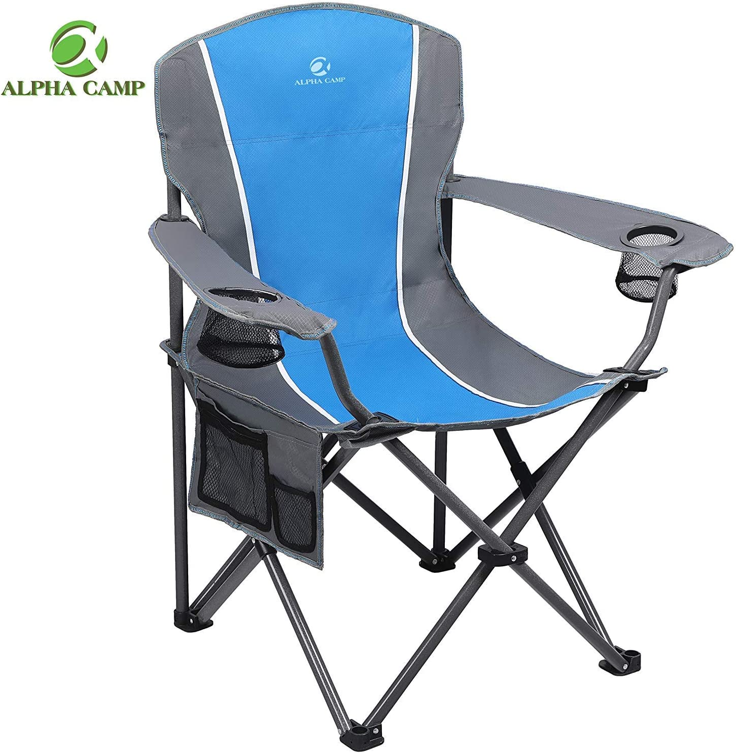 ALPHA CAMP Folding Camping Chair Heavy Duty Support 350 LBS Oversized Steel Frame Collapsible Padded Arm Chair with Cup Holder Quad Lumbar Back Chair Portable for Outdoor, Blue/Gray