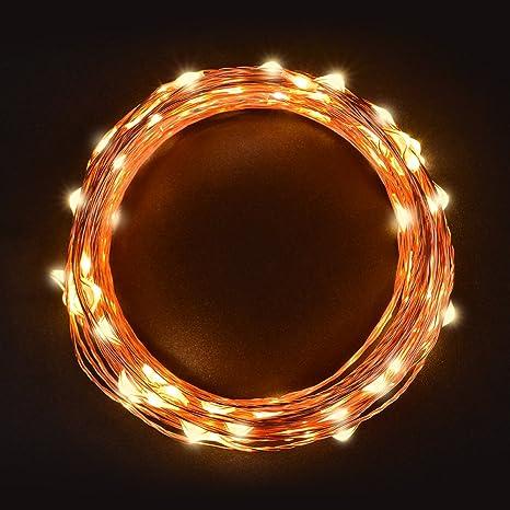 Cadena Luces LED 11m, Sunix alambre de cobre impermeable, 110 LED blanco cálido,