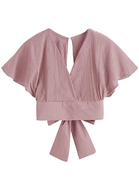 c6f77bac58c6 Floerns Women s Summer Cute Short Sleeve Bow Tie Crop Blouse Top at Amazon  Women s Clothing store