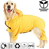 Pro Plums Dog Raincoat Recycled Fabric Dog Jacket with Harness Hole and Hood Four Legs Lightweight Poncho for Large Medium and Small Dogs