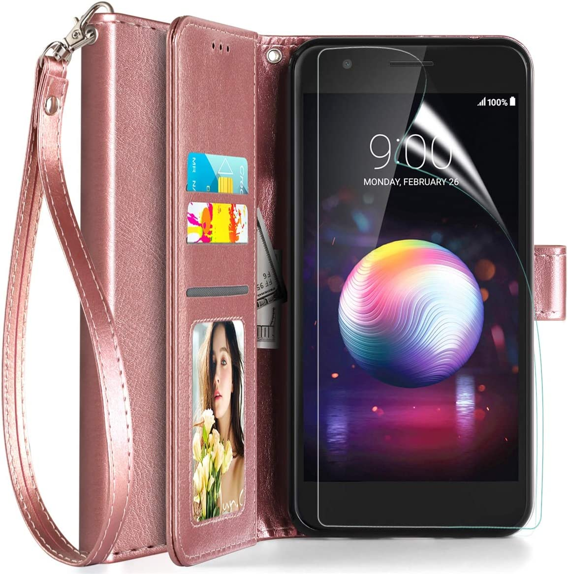 Axiay LG Aristo 2/Aristo 3 Case Wallet,LG Aristo 3 Plus/Tribute Empire/K8+/Fortune 2 Phone Case w Screen Protector,Kickstand Magnetic Card Slots Wrist Strap Flip Folio Shockproof Leather Case,RoseGold