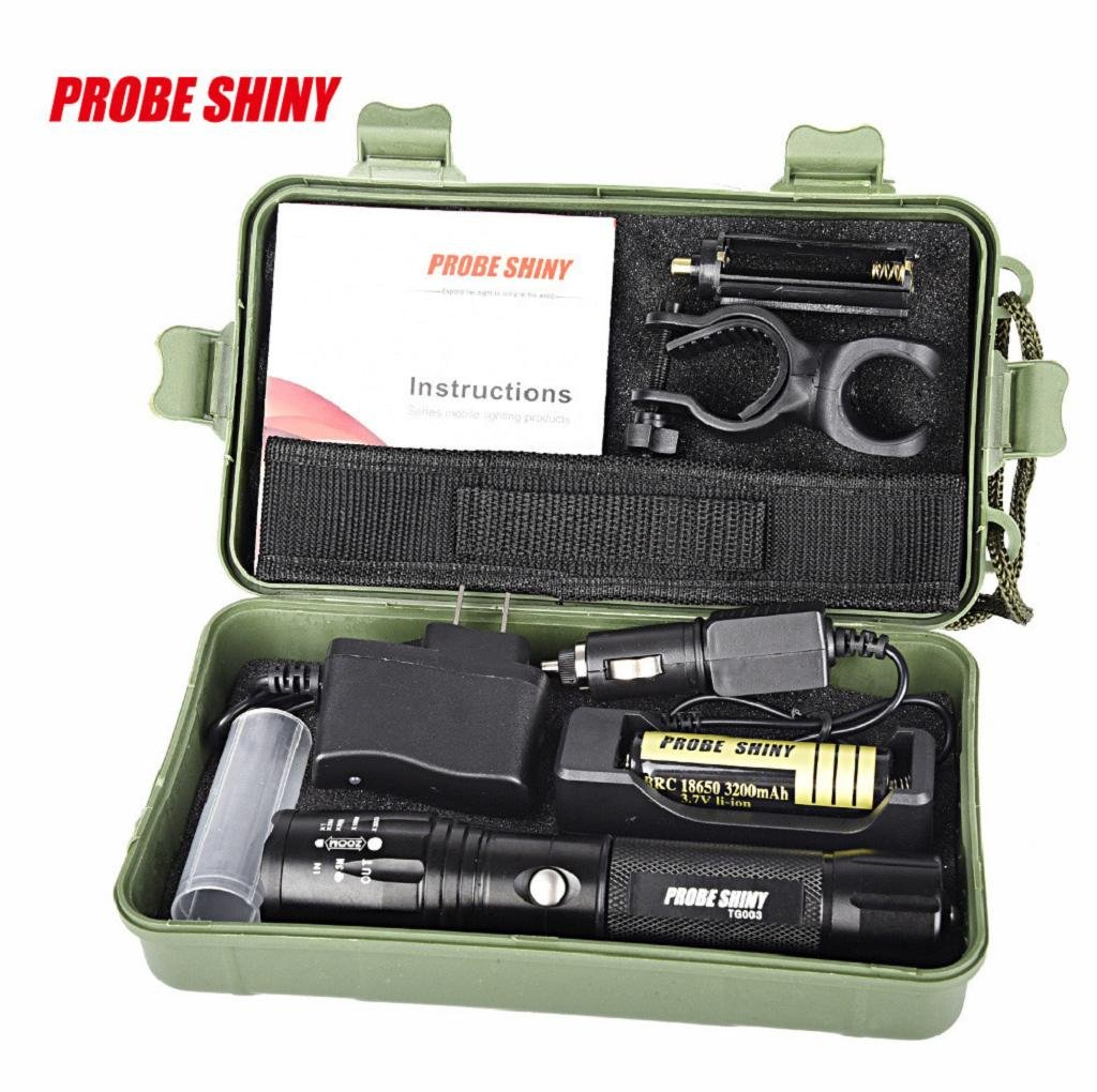 VIASA 5000 Lumens X800 Zoomable XML T6 LED Tactical Flashlight+18650 Battery+Charger+Case