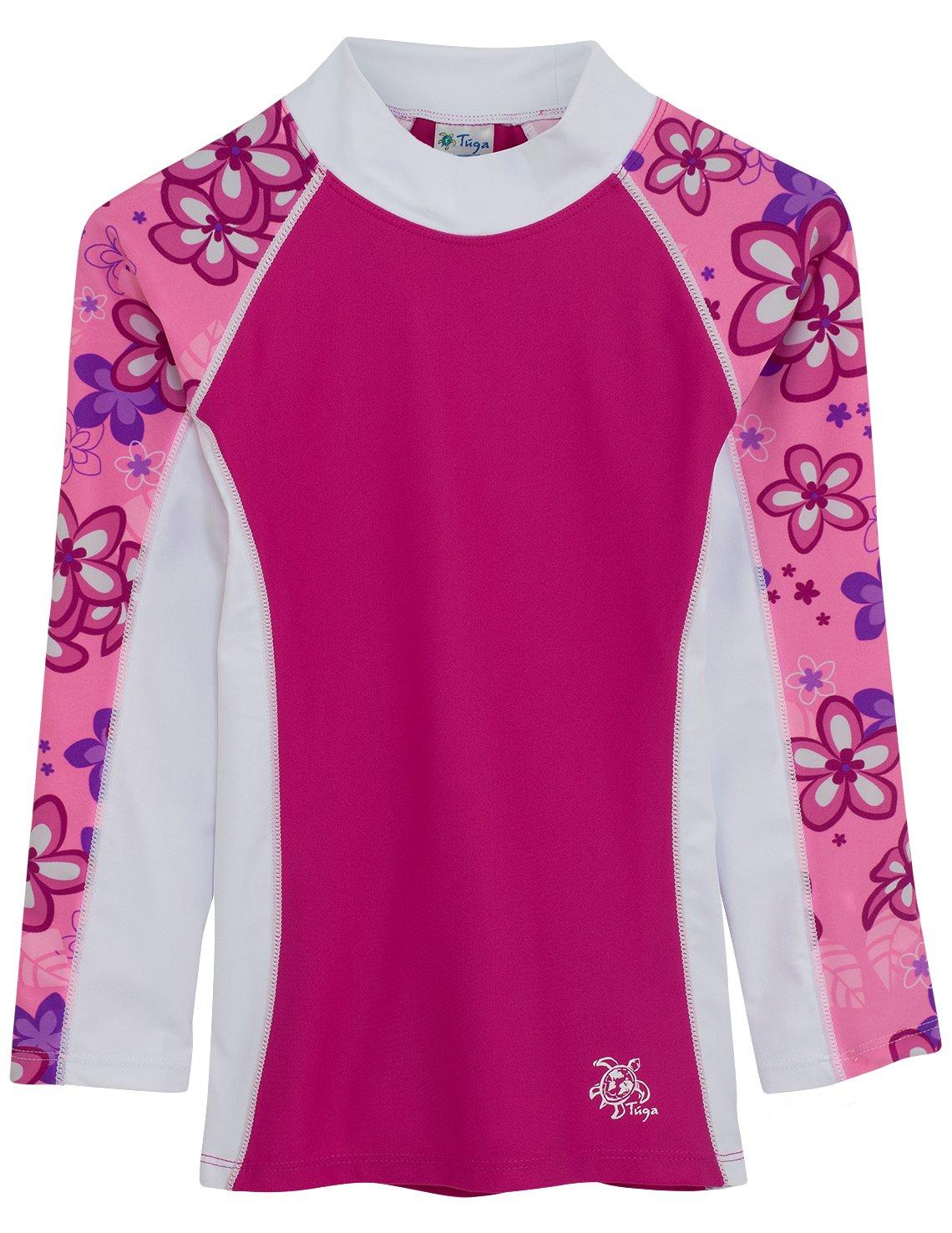 Tuga Girls Shoreline L/S Rash Guard (UPF 50+), Blossom Pink, 6/12 mos