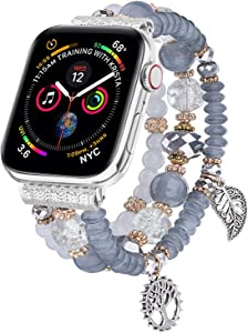 V-MORO Bracelet Compatible with Apple Watch Band 44mm/42mm Series 6 5 4 Women Fashion Handmade Elastic Stretch Beads Replacement for iWatch Series 3/2/1 42mm/44mm with Silver Stainless Steel Adapter