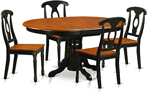 KENL5-BLK-W 5 Pc Dining room set-Oval Dining Table in conjuction with 4 Dining Chairs.