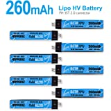 BETAFPV 8pcs 260mAh HV 1S Lipo Battery 30C 4.35V with JST-PH 2.0 Powerwhoop Connector for Tiny Whoop Blade Inductrix