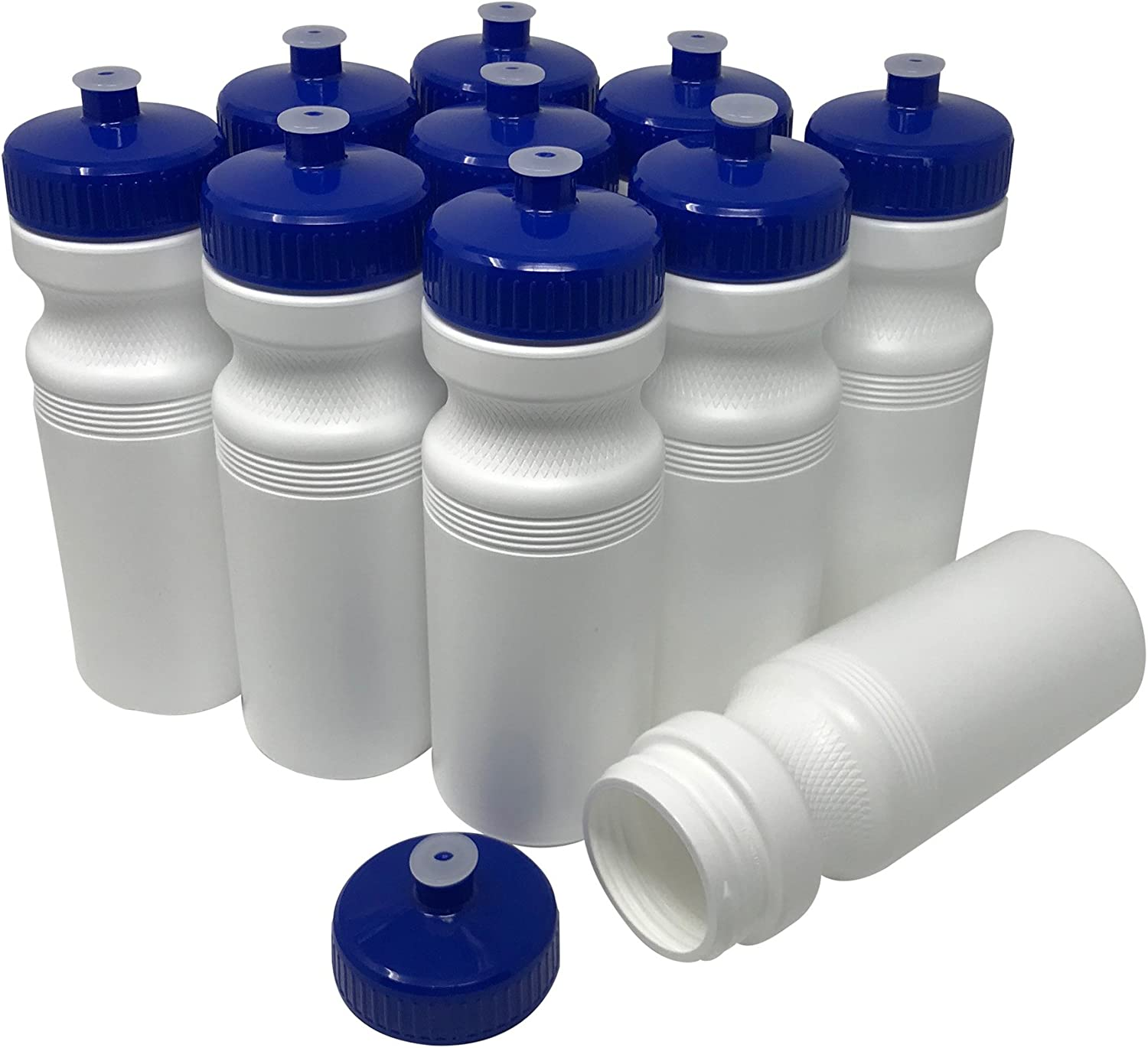 CSBD 24oz Sports Water Bottles, 10 Pack, Reusable No BPA Plastic, Pull Top Leakproof Drink Spout, Blank DIY Customization for Business Branding, Fundraises, or Fitness