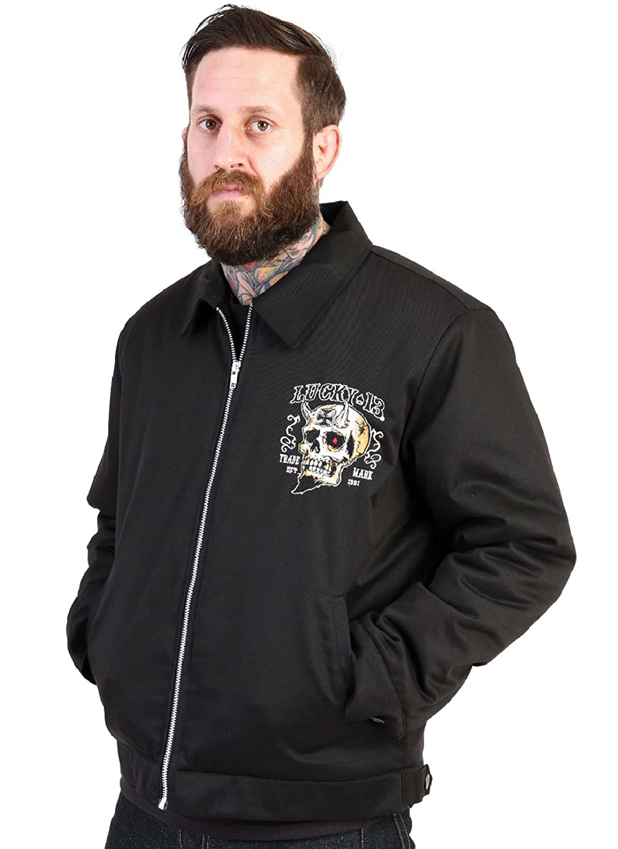 Men's Vintage Style Coats and Jackets Devil Skull Biker Quilt Lined Chino Jacket Booze Bikes Broads Lucky 13 $100.95 AT vintagedancer.com