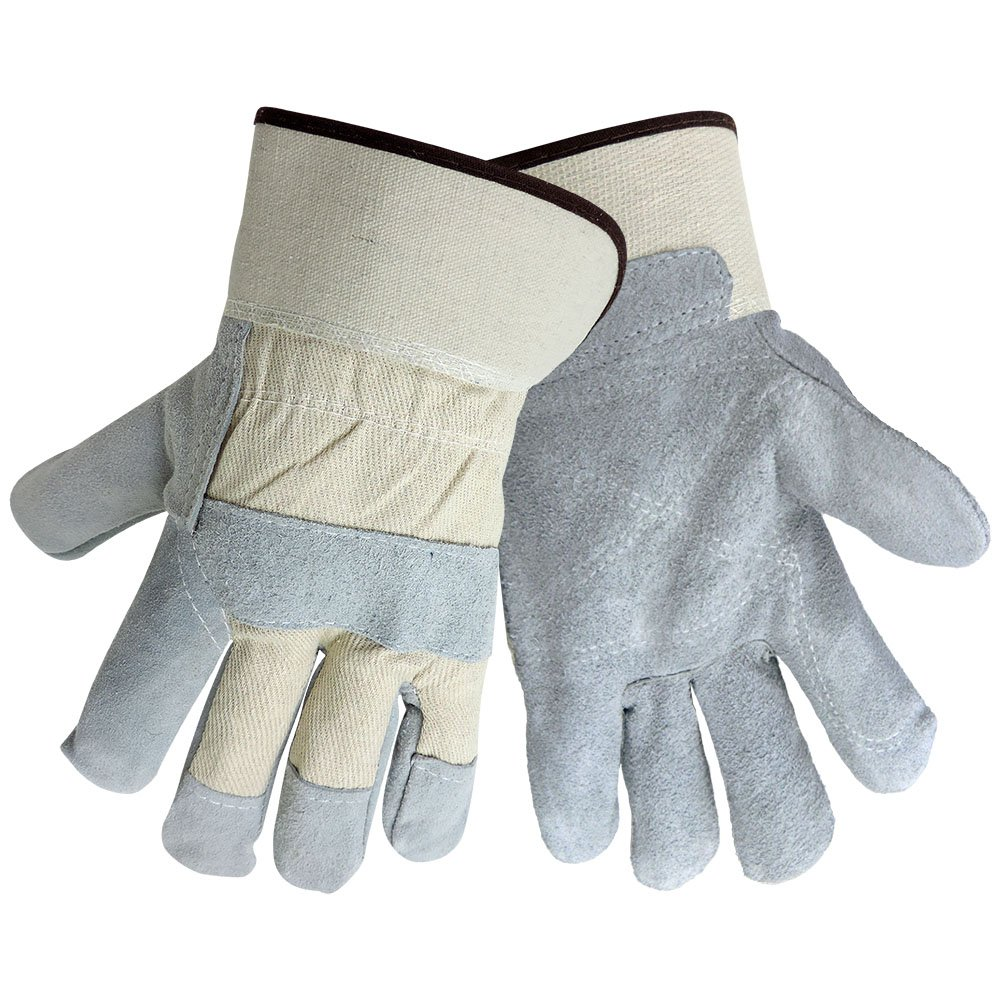 White Canvas Back PE Gauntlet Cuff Large Global Glove 2250ISDP Good Leather Gunn Cut Double Palm