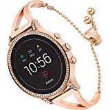 for Fossil Gen 4 Q Venture HR Women Bands, TRUMiRR 18mm Jewelry Bangle Watchband Rose Gold Stainless Steel Strap Feminine Cuff Bracelet for Fossil Gen 3 Q Venture LG Watch Style