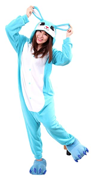 Honeystore Unisex Warm Sleepwear Adult Cosplay Rabbit Pajamas Costume  Homewear Blue S c3dad702c