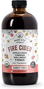 Fire Cider, Tonic, 16 oz, Honey-Free flavor, 32 Daily Shots, Apple Cider Vinegar, Whole, Raw, Organic, Not Heat Processed, Not Pasteurized, Not Diluted, Paleo, Keto, Whole 30.
