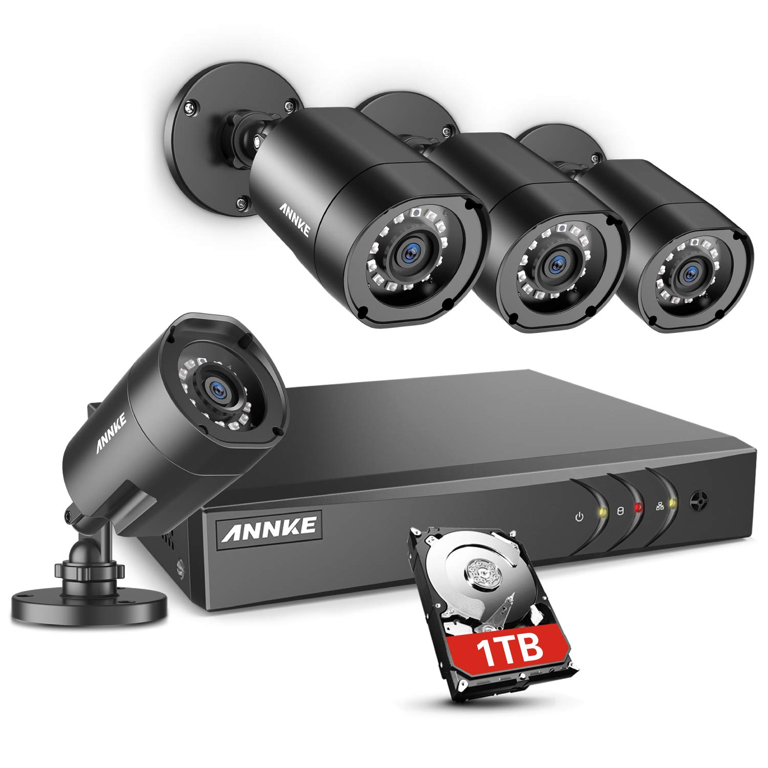 ANNKE 8CH H.264+Security Camera System with 1TB Hard Drive, 4pcs 1080P 1920TVL Wired CCTV Cameras, IP66 Weatherproof for Indoor Outdoor use, Motion Alert Remote Access by ANNKE