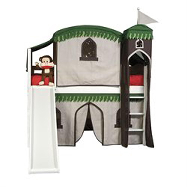 ボルトン家具9921500lt6trミッション低ロフトTreehouseベッドwithスライド、タワー、上部テント、下Playhouseカーテン、ホワイト B00A8CX7VE