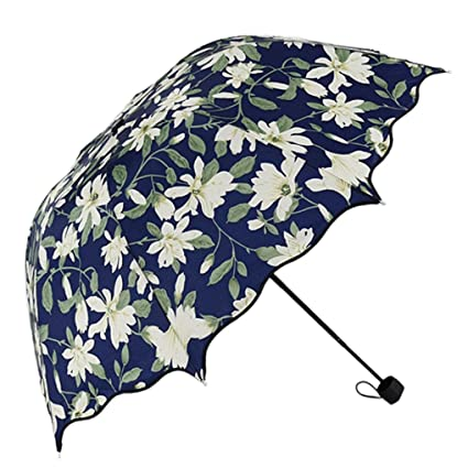 Cinhent Umbrella, 2018 Fashion Newly Floral Small Fresh Lively Flouncing Folding Lotus Leaves Dome Parasol