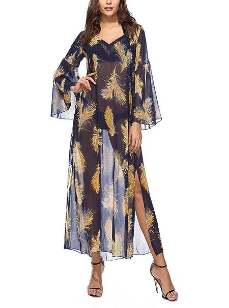 Mujer Vestidos Largos De Verano Elegantes Vintage Boho Estampado Flores Vestido Playa V Cuello Dulce Lindo Chic Manga Transparentes Gasa Suelto Casual Maxi ...