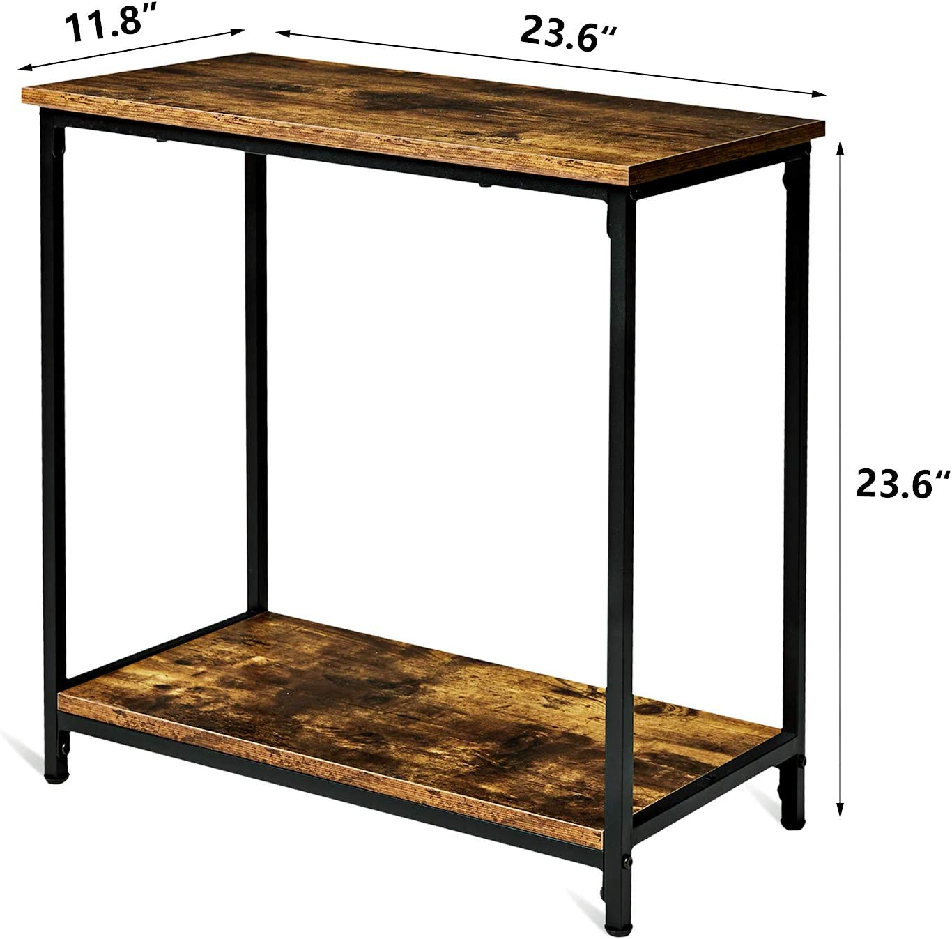 Tianlang Retro Industrial Side Table,End Table with 2 Shelf ,Narrow Table for Living Room,Kitchen Stable Metal Frame,Retro Brown LJET010F