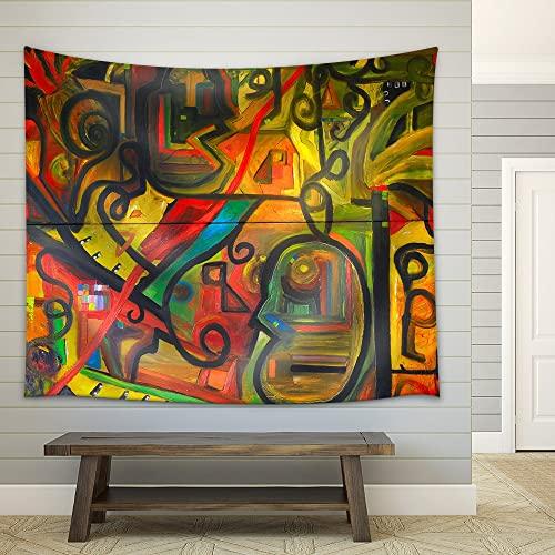 wall26 – Image of a Original Oil Painting on Canvas – Fabric Wall Tapestry Home Decor – 68×80 inches