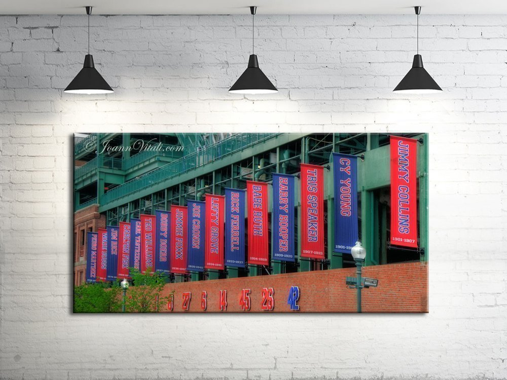 Fenway Park Hall of Fame Banners, Fenway Park Canvas Print, Red Sox Panoramic, Fenway Park Canvas Art, Red Sox Wall Canvas by Boston New England Photo Art