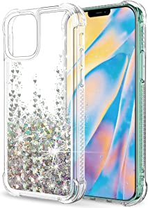 """SunStory Compatible with iPhone 12 Pro Max Case Glitter Clear [Only Fit Pro Max 6.7""""], Compatible with iPhone 12 Pro Max 5G Case for Women Girls with Moving Shiny Quicksand (Silver)"""