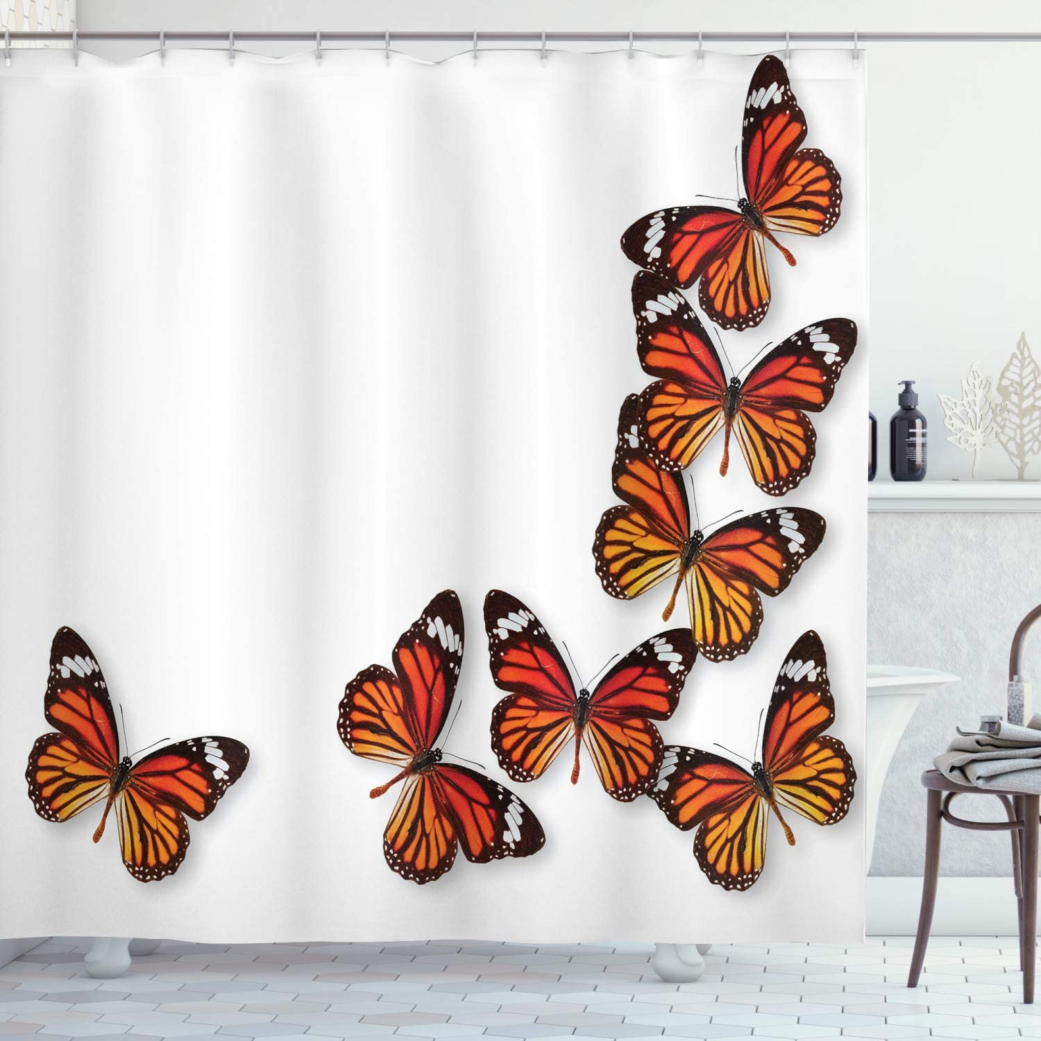 "Ambesonne Butterflies Shower Curtain, Monarch Butterfly Flying Frame Insect  Exotic Weather, Cloth Fabric Bathroom Decor Set with Hooks, 10"" Long"