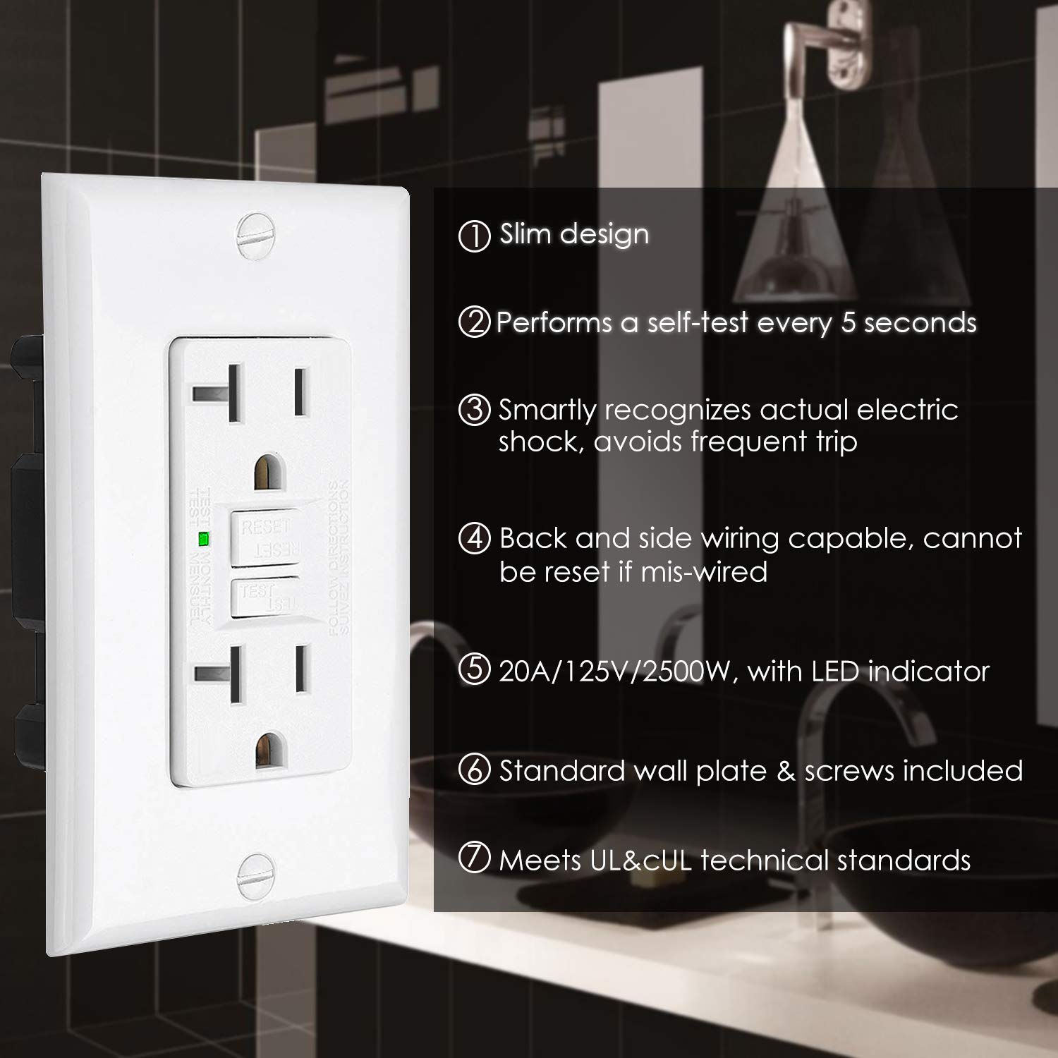 [10 Pack] BESTTEN 20-Amp GFCI Outlets, Slim GFI Receptacles with LED Indicator, Self-Test Ground Fault Circuit Interrupters, Decor Wall Plates Included, UL Listed, White by BESTTEN (Image #2)