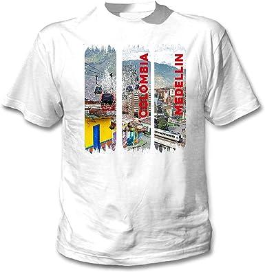 teesquare1st Medellin Colombia Camiseta Blanca para Hombre de Algodon: Amazon.es: Ropa y accesorios