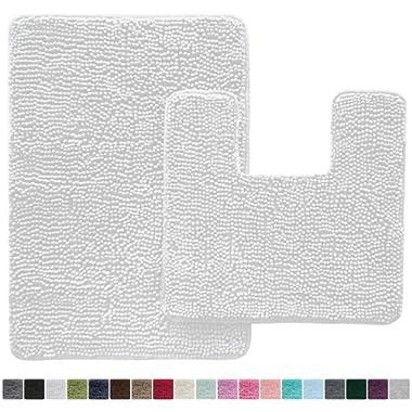 Gorilla Grip Original Shaggy Chenille 2 Piece Bath Rug Set, 19x19 Square U-Shape Contoured Toilet Mat & 30x20 Carpet Rug, Machine Wash/Dry Mats, Soft, Plush Rugs for Tub Shower & Bath Room (White)