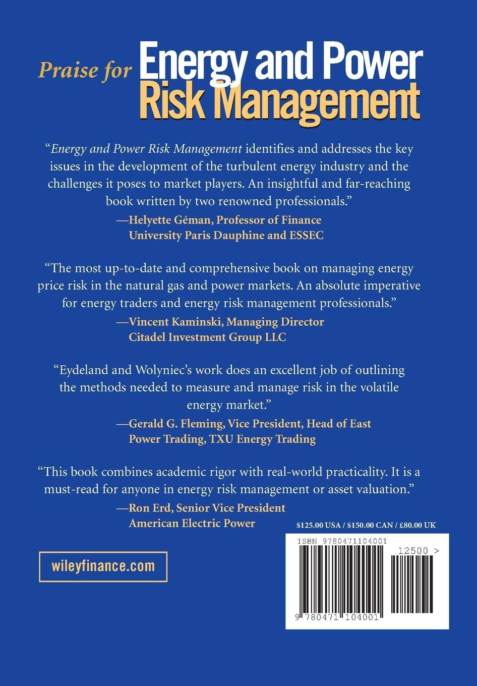Energy and Power Risk Management: New Developments in