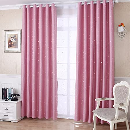 Pureaqu 1 Panel Blackout Kids Pink Curtains Shiny Silver Stars Sun Blocking For Baby Boys