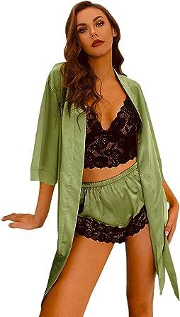 SOLY HUX Womens Sleepwear 4pcs Floral Lace Trim Satin Cami Pajama Set with Robe