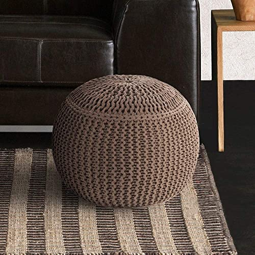 Artist s Loom Indian Pouf 18×18 x16 Off-White