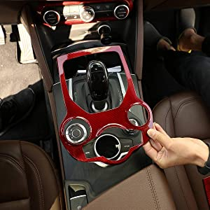 YIWANG 100% Real Carbon Fiber Car Interior Center Console Gear Shift Panel Cover Red for Alfa Romeo Giulia Stelvio 2017 2018 2019 Auto Accessories