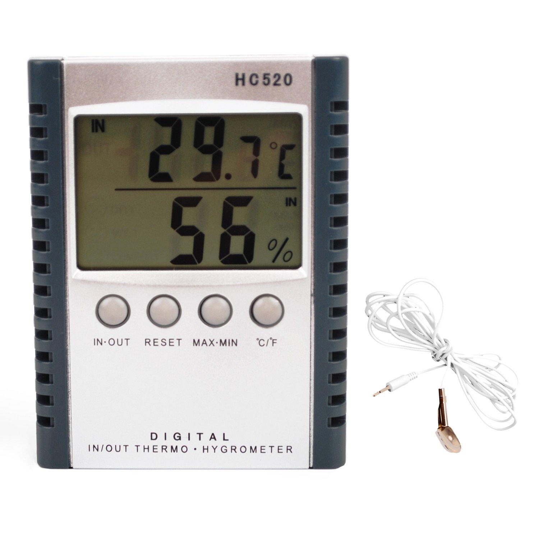 alucky meteorológica termómetro digital de interior/exterior higrómetro humedad HC520 multifunción con pantalla LCD (Negro): Amazon.es: Hogar