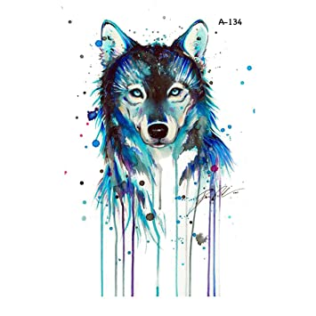 e49e2530f9c46 Image Unavailable. Image not available for. Colour: WYUEN 5 PCS Watercolor  Wolf Temporary Tattoo Sticker for Women Fake Tattoo Men Body Art Hand