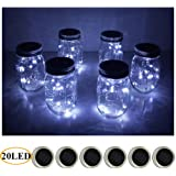 Amazon Price History for:6 Pack Mason Jar Lights 20 LED Solar Warm White Fairy String Lights Lids Insert for Patio Yard Garden Party Wedding Christmas Decorative Lighting Fit for Regular Mouth Jars